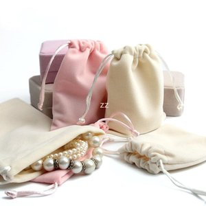 velvet gift bags with drawstrings 10*12cm soft velvet drawstring pouches for jewelry red wedding favors bag HWE10066