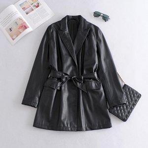 Long PU Faux Leather Blazers Women Jacket with Belt Coat Brand New Women's Jackets Outerwear Ladies Coats Female Leather Suit