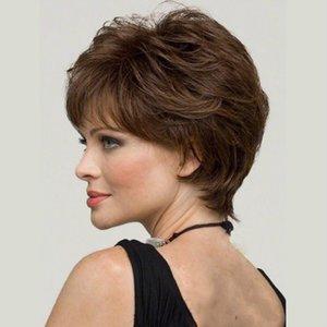 Mode européenne et américaine dames brun cheveux bouclés cheveux moelleux naturel micro volume perruque wig gaine transfrontalier commerce extérieur