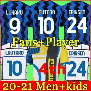 Inter 2020 2020 2021 كرة القدم جيرسي Lukaku ميلان فيدال Barella Lautaro Eriksen Arrikis Hakimi 20 21 قميص كرة القدم زي الرجال + Kids Kit 4th الرابع