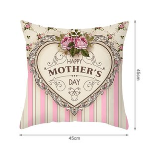 pillow case Happy Mother Day Words gift Pink Flower Picture Cushion Cover For Home Sofa Decorative Pillowcases EEB6074
