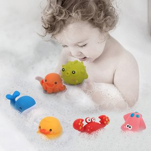 Baby Bath Toys For Children Girls 1 Years Old Duck Fish Soft Ball Rubber Bathing Toy For Toddler Bathroom Shower Game Water Toy
