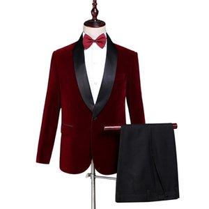 Iwhanker Men Suit Costume Homme Mariage 2 Pieces Set Plus Size Red Slim Fit Wedding Singer Tuxedo Suits Blazer Pant YS0499 Men's & Blazers