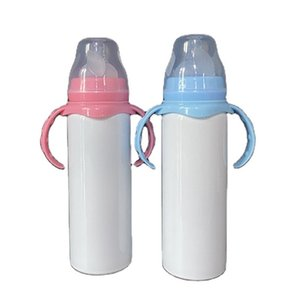 8oz DIY Sublimation Baby Sippy Double Wall Stainless Steel Vacuum Insulated Cup Drinking Mugs Feeding Bottle With Nipple Handle 66VS 532R