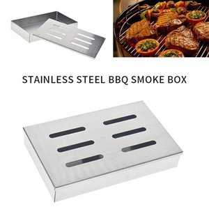 Tools & Accessories Stainless Steel Barbecue Smoker Box For BBQ Grill Wood Chips Smoking With Hollowed Lid #15