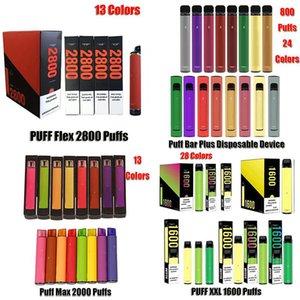 Barra Puff Bar Plus XXL Flex Max Disable Pod e Dispositivo de Cigarro 800 1600 2000 2800 Puffs Cartucho Prefilado Vape Pen vs Bang Edge Ultra Randm