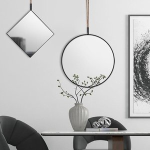 Mirrors Hanging Round Wall Mirror Iron Frame Nordic Wrought Golden Girls Dessing Room Bathroom