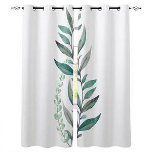 Curtain & Drapes Small Fresh Plant Leaves Green Curtains For Kids Boy Girl Bedroom Living Room Cortinas Custom Drape Kitchen Window