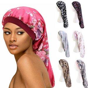 Lange Haare Schlafkappe Blume Bunte Muster Kopftuch Elastische Bandbreite Satin Weibliche Badkappe Ornamente Badezimmer Zubehör