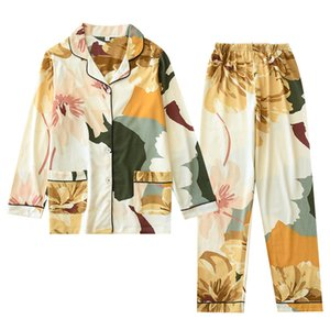 XIFER New Women Cotton 2pcs Set Spring and Autumn Long-sleeved Home Service XL Pajamas Ladies Knitted Homewear SuitNDXD