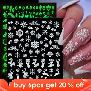 Perfections1pcs White Snowflakes Nail Sticker 3D Luminous Glowing in Dark Nail Art Slider Adhesive Decals Foil Manicure Decor TRSTZY001-009