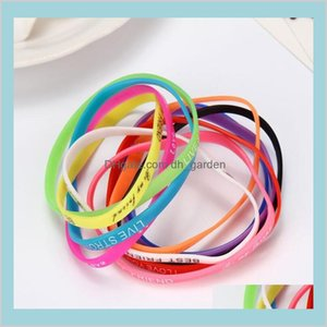 Fashion Luminous Jelly Sile Sports English Letters Wristband Mixed Style Hand Rings Random Ps2556 Yjulu Glow Bffiw