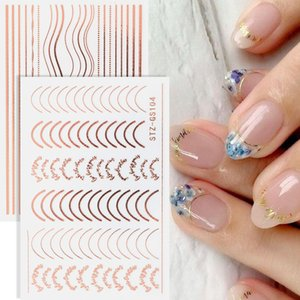 1pcs Gold Silver Sliders 3D Nail Stickers Straight Curved Liners Stripe Tape Wraps Geometric Nails Art Decoration