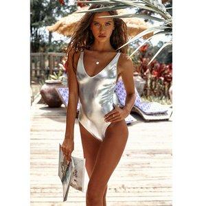 2019 Women One Piece Swimsuit Gold Silver Swimwear High Cut Bikini Set Beach Wear Summer Suit