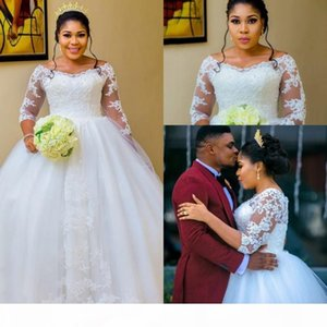 Plus Size Bridal Gowns Wedding Dresses 2019 African Arabic Sheer Long Sleeves Off Shoulder Appliques Puffy Long Modest