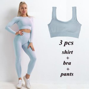 3pcs Yoga Set Women Seamless Yoga Suits Autumn Long Sleeve Cropped Shirts Fitness Leggings Running Sports Top Gym Clothes wmtvQS xhlove