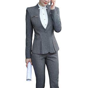 Women's Suits & Blazers Two Piece Set Elegant Women Formal Uniform Office Pants+Blazers Jacket Dress Feminino Business Pant Plus Size