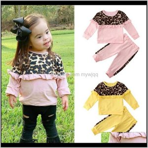 Toddler Girl Outfits Leopard Girls Tops Pants 2Pcs Sets Ruffle Children Clothes Set Designer Boutique Baby Clothing 2 Designs 4Lots Kk Jurww