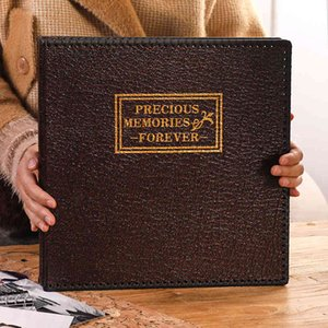 New Large 12 Inch PU Leather Album Retro Manual DIY Sticker Album Family Scrapbook Marriage Memory Record Photo Collection Gift 210330
