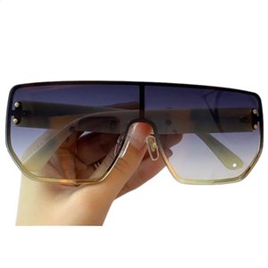Oversized One Piece Sunglasses Women Designer Retro Square Large Frame Sun Glasses Female Rivet Goggle Shades