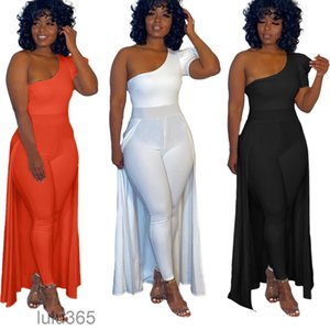 2021 fashion new women's Elegant Jumpsuit Evening Dresses short sleeve Pants Suit Prom Party Gowns With Cape 2021 One Shoulder onesise lulu365