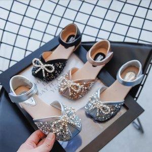 Zapatos para niños Girls Fashion Flats Kids Snowdler Princess Shoes con vestido de mariposa-nudo Partido de boda Zapatos de chicas Soft 23-34