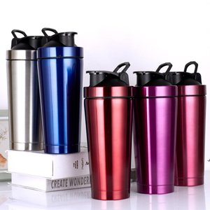 Shake Cup 750ml Vacuum Insulated Mug 304 Stainless Steel Sports Thermos Protein Milk Coffee Cup Shaker Bottle with Lid sea ship AHD6087
