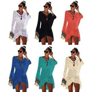 Women Bikini Cover Ups Fashion Solid Knitting Hollow Out Pareo Ladies V Collar Beach Dress Summer Sunscreen Swimwear Scarf Shawl 66 X2