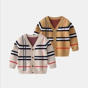 Детские дети повседневные пальто вязаные свитеры кардиган для мальчиков осень теплые детская школьная одежда 2-7 лет