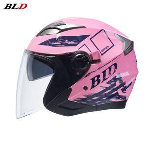 Motorcycle Helmets BLD Safety Double Lens Helmet Electric Bike Capacete Half Face ABS Motorbike Moto Casque For Women Men
