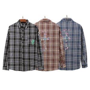 Travis Scott Hip Hop Rap High Street Style Letter Print Plaid Shirt Jacket Fashion Design Casual Tops Tees