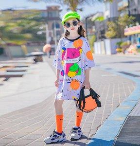 Grandes meninas dos desenhos animados graffiti impresso vestidos verão crianças manga curta solta casuais t - shirts Designer velho crianças roupas 3-15T A6428