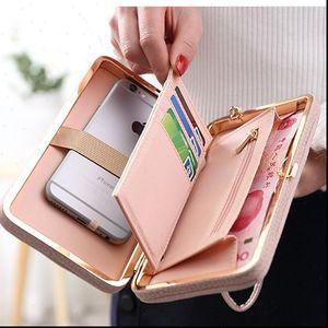 Monedero billetera femenina gran capacidad marca tarjeta soporte teléfono celular bolsillo regalos para mujeres bolsa de embrague bolsas de pulsera