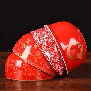 중국 웨딩 용품 레드 세라믹 도자기 그릇 수프 디저트 식기 선물 전통 식기류 장식 그릇