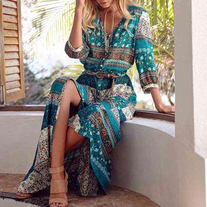 Long New Bohemian Maxi Printing Long skirt Women skirt Flower printer Retro Hippie Vestidos Chic Brand Clothing Boho Jurk