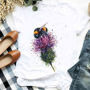 Women Lady Flowers Aquarel Bee Fashion Casual 90s Print Tee Womens t for Women's Shirt Clothing Top Graphic T-shirt