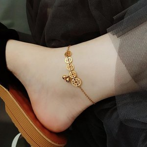 Anklets Women'S Gold Heart Layered Anklets, Bead Bracelet Pendants, Exquisite For Women And Girls, Barefoot Beach In Summer