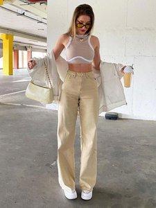 Kadın Pantolon Capris Kadınlar Yüksek Bel Streç Geniş Bacaklar Lady Katı Renk Düz Pantolon Rahat Rahat Moda Gevşek Kot