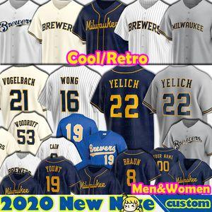 22 Christian Yelich Milwaukee Jerseys Baseball Kolten Wong Daniel Vogelbach Lorenzo Caïn Keston Hiura Brandon Woodruff Robin Yount Personnalisé
