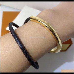 Cuff Bracelets Drop Delivery 2021 High Quality Dark Buckle For Woman Fashion Leather Flower Retro Trend Bracelet Jewelry Supply Wfo7J