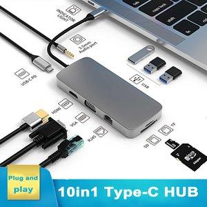 Docking Station Hub with USB Type C Multi-function 10 in 1 Hub Converter 4K VGA Adapter adapter RJ45