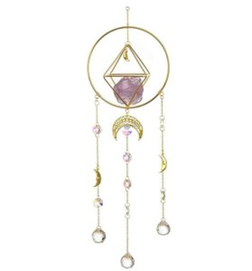 Home Decor, Amathyst, Handmade Gold-Plated Moon Phase Sun Trap, Colored Crystal Sunshade, Prism Window Hanging