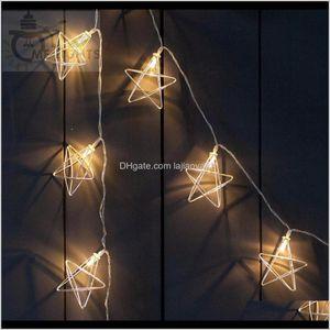 Decorazioni Festive rifornimenti domestici Garden Garden Drop Consegna 2021 Novità Lampatria Led Fairy Lights 20 Metal Star String Battery Powered Vacanze natalizia