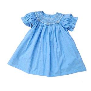 Vestidos de niñas Cekcya Girls Hecho a mano Bordado Bordado Azul Vestido Bebé Smocking Frocks Infantil Peter Pan Collar Vestidos Niños Ropa Boutique