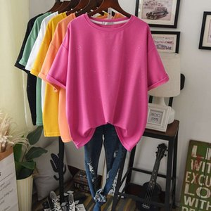 Solid Lazy Casual Tee Top Women Short Sleeve Stylish Bling Street T Shirt Student Simple Cotton Basic Tees Maxi