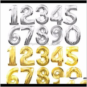 Other 32 Inches Large Gold Sier Number Foil Balloons Digit Ballons Birthday Wedding Decor Air Baloons Event Party Supplies Cnwod A41Pu