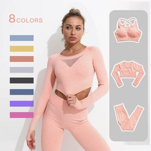 2 3PCS Yoga outfit Set Seamless Women Workout Sportswear Gym Clothing Fitness Long Sleeve Crop Top High Waist Leggings Sports Suits