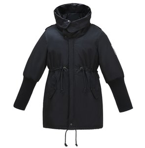Kissqiqi Женская зима с капюшоном пальто с капюшоном Пальто теплых траншеи Парки Parkas Mid Thucker Куртка Windbreaker