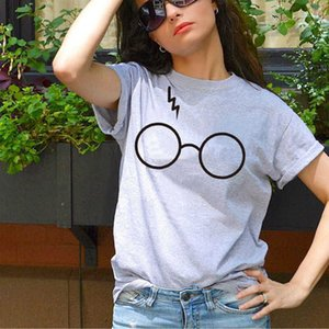 Women's T-shirt Round Neck Short Sleeve Harry Potter Glasses Printed Cartoon Loose for Women
