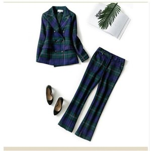 Ladies Business Suit For Office 2 Piece Womens Formal Wear Blazer Pant Suits Female Party Uniform Plaid British Style Y213 Women's Tracksuit